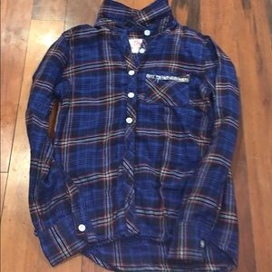 Girls size 8 justice button down plaid